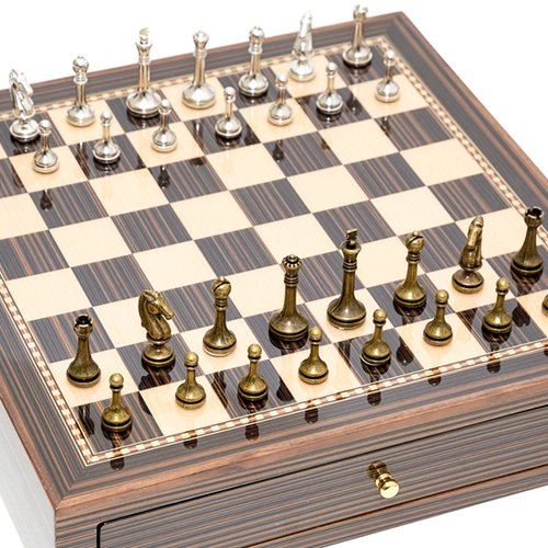 Astor Row Brass/Silver Plated Chessmen & Seventh Avenue Maple & Walnut Chess Board/Box with Two Drawers. ()