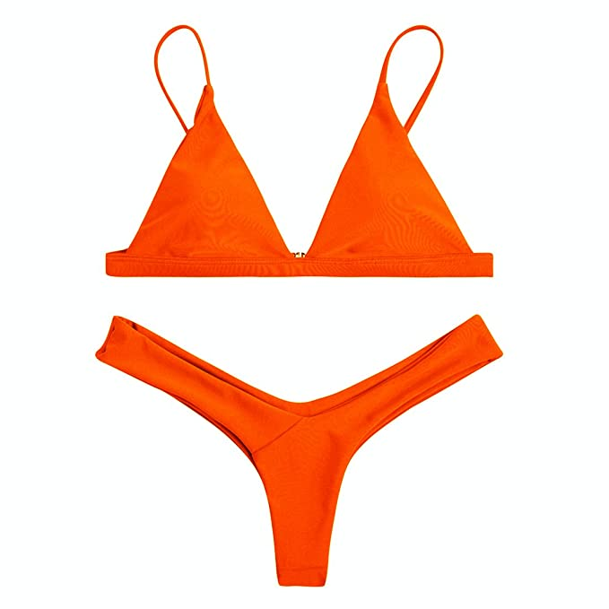 6d9bd95543db9 Sexybody Women's Halter Push Up Cheeky Bikini Set 2 Pieces Brazilian  Triangle Swimwear Swimsuits (S