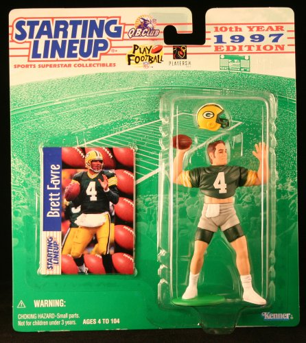 (BRETT FAVRE / GREEN BAY PACKERS 1997 NFL Starting Lineup Action Figure & Exclusive NFL Collector Trading Card)