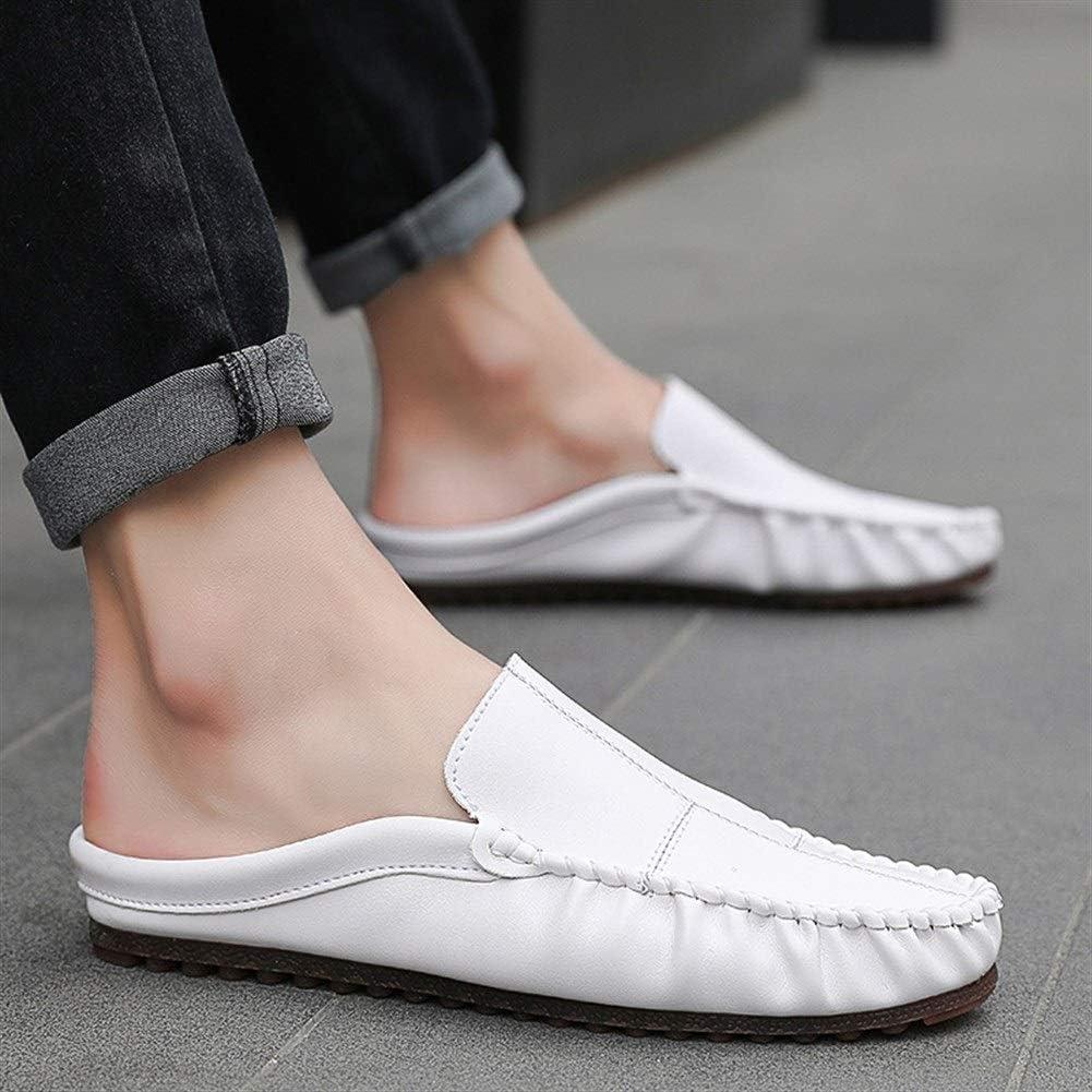 Pantoufles en Cuir Respirant Mocassins L/égers Et Antid/érapants HILOTU Chaussures De Randonn/ée Estivales pour Hommes Color : Blanc, Taille : 39 EU