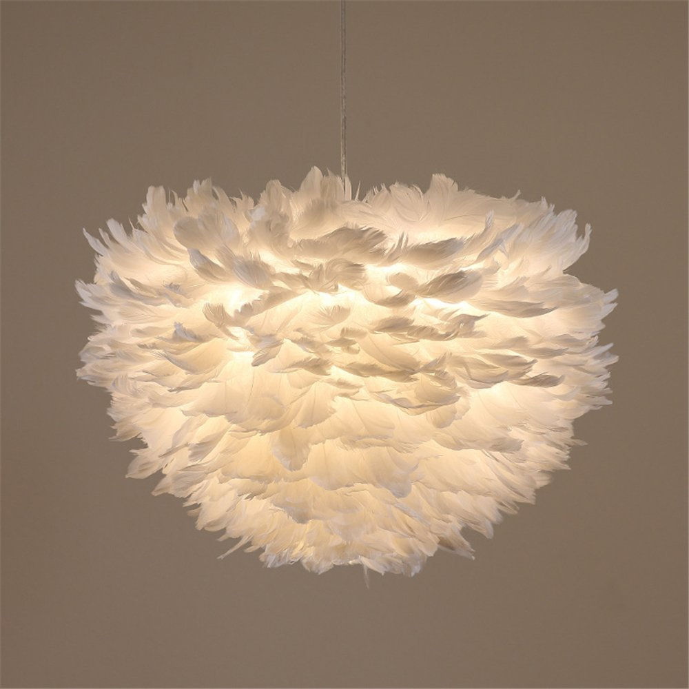 ARDUX Feather Light Shade, Small Size inch Simple E27/5W Lampshade Lamp for Living Room Bedroom Home Bookroom Decoration (Warm White)