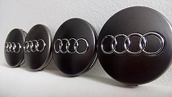 4 tapas de llanta de 60 mm para Audi, color gris/cromo