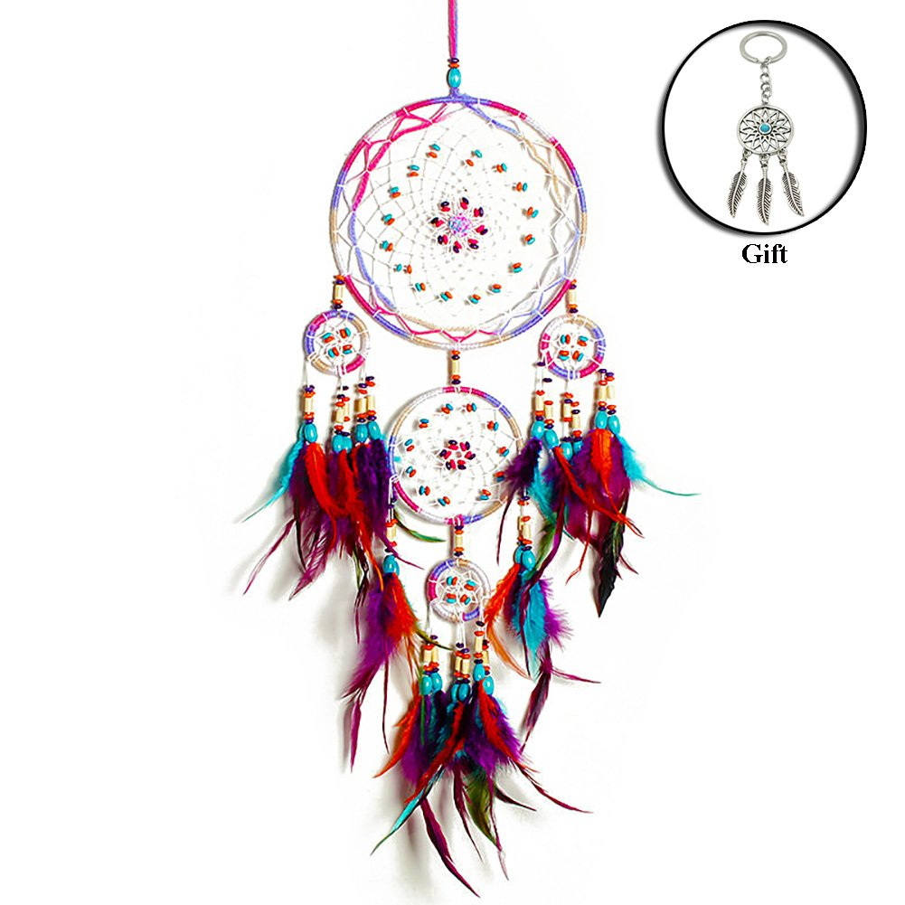 2 Piece IMMIGOO 1 Dream Catcher Indian x 1 Dreamcatcher Keyring Gift, Handmade Dream Catcher Gifts Ornament Wall Hanging Original Dreamcatcher Decorations Home Bedroom Vehicle Mirror Outdoor – Multicolour