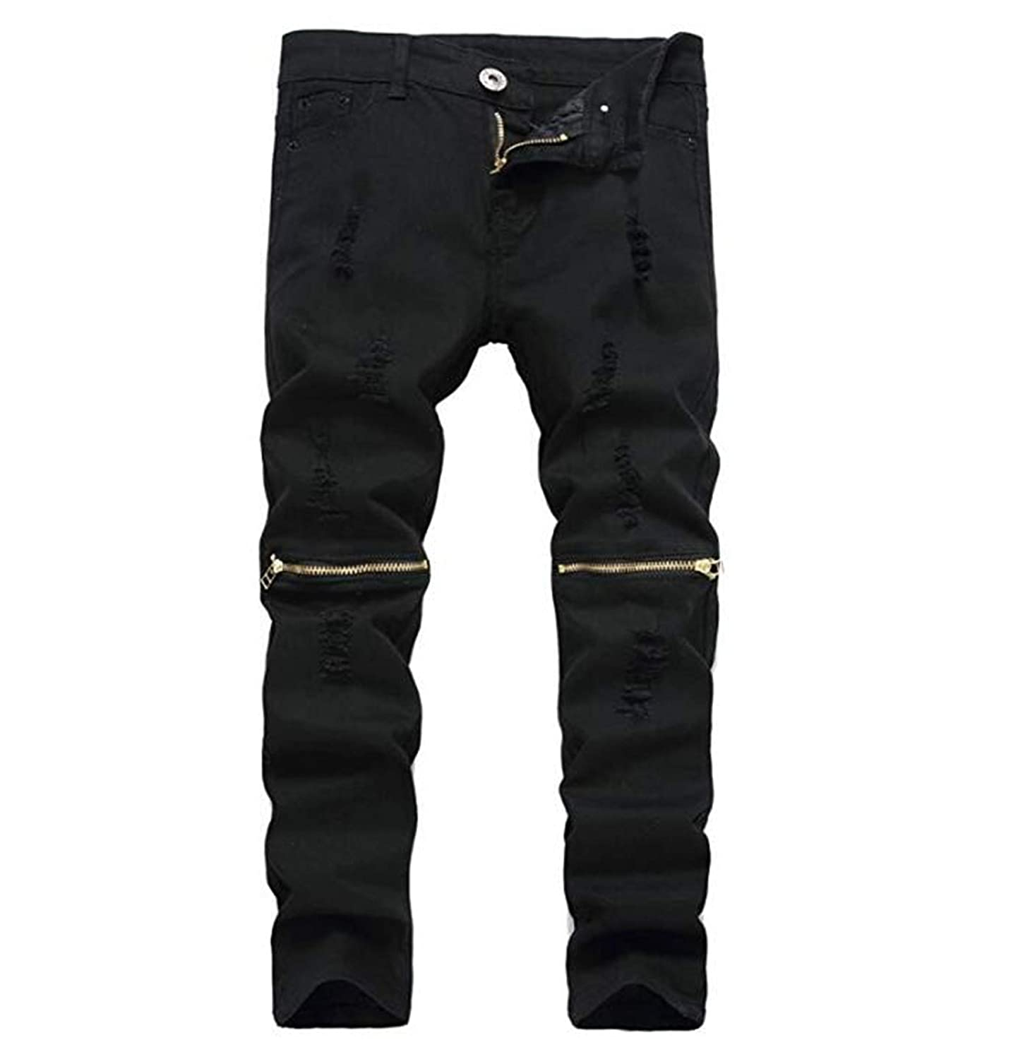 IA ROD CA Boys Slim Skinny Ripped Distressed Zipper Fit Jeans Pants with Holes J369852159boy