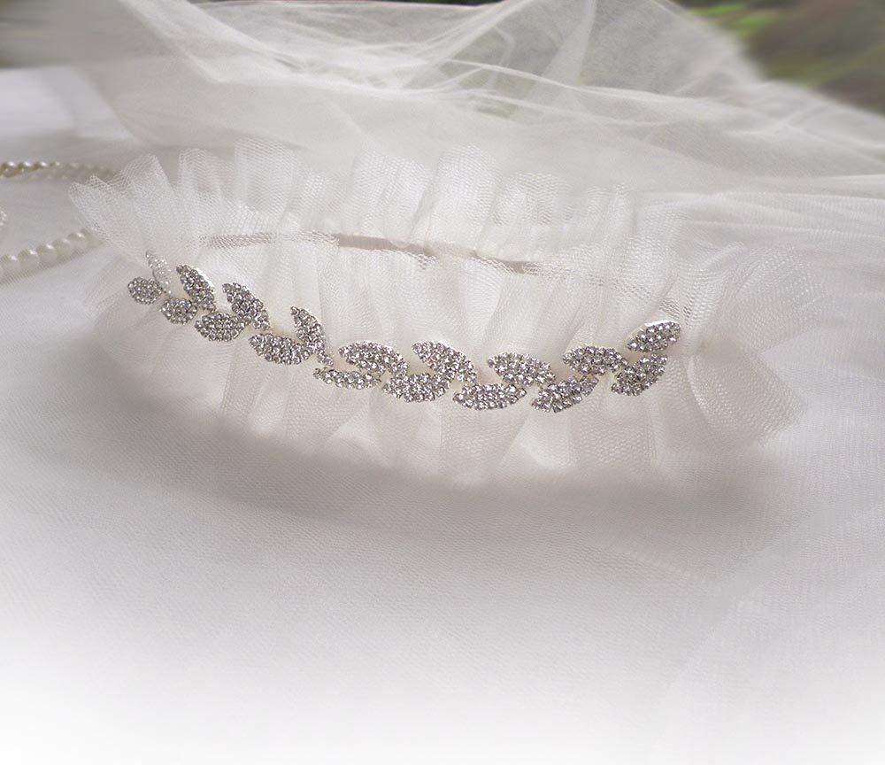 Very Sparkly rhinestones leaves Light ivory layered net garter wedding bridal