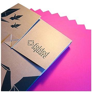 Folded Square Origami – Papel Rosa de origami | 100 Hojas, 15cm Cuadrado | Pantone
