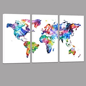 "World Map Canvas Art,Vintage map Poster Printed on Canvas with Frame Ready to Hang,Canvas Art,Map of World Canvas Prints Wall Art,Map Poster Artwork (24""x36"")"