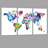 Amazon wieco art colorful vintage world map canvas prints wall world map canvas artwater color map poster printed on canvas with frame ready hanging gumiabroncs Choice Image