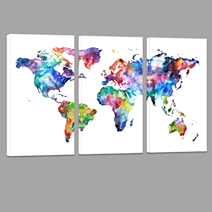 Amazon.com: World Map Canvas Art, Water color map Poster Printed