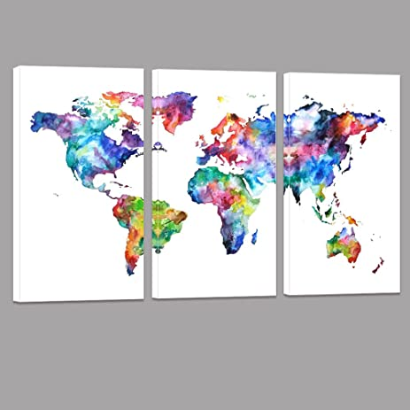 Amazon world map canvas art water color map poster printed world map canvas artwater color map poster printed on canvas with frame ready hanging gumiabroncs Gallery