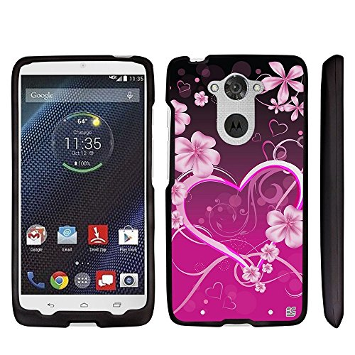 (Beyond Cell®Droid Turbo Case, XT1254 Case, Premium Protection Slim Light Weight 2 piece Snap On Non-Slip Matte Hard Shell Rubberized Phone Cover- Pink Rosy Heart Design)