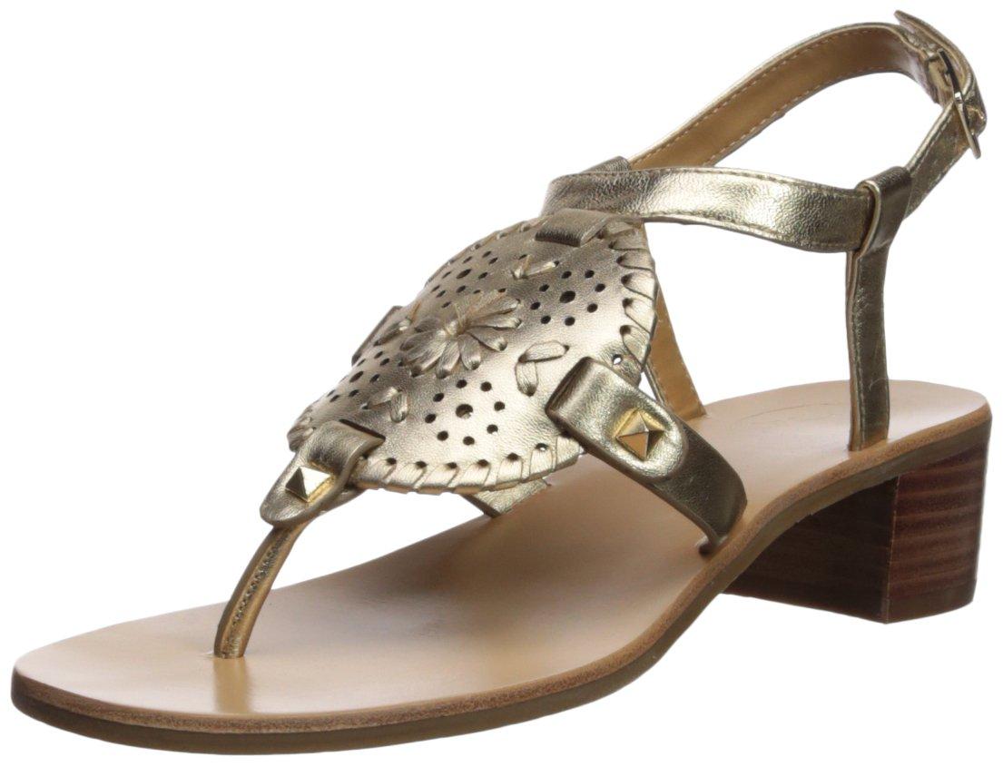 Jack Rogers Women's Gretchen Heeled Sandal, Platinum, 6 Medium US