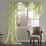 KEQIAOSUOCAI Leaves Embroidery Sheer Window Valance Semi Voile Scarf 1 Piece, 52 inch Wide by 216 inch Length,Green