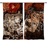 Abstract art draperies, set with two 50''x84'' panels in brown and rust red, Hammered Copper