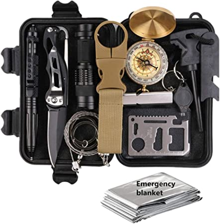 Linpu - Kit de supervivencia 13 en 1, linterna de emergencia ...