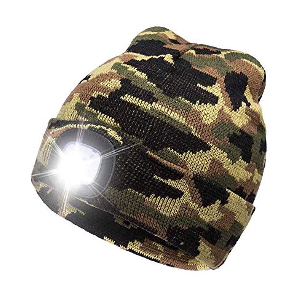 merymall La Linterna de 4 LED Guarda el Gorro de Punto Ligero de Punto Caliente,Casquillo del Faro para la Caza,acampando,asando a la parilla