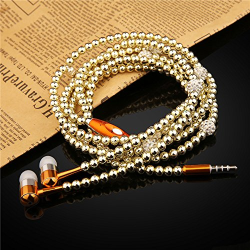Pearl Stereo - Ranipobo Luxury Bling Diamond Pearl Necklace Chain Earphone Stereo Earphone With Mic For Smart Phone/iphone 3.5mm Plug (Gold)