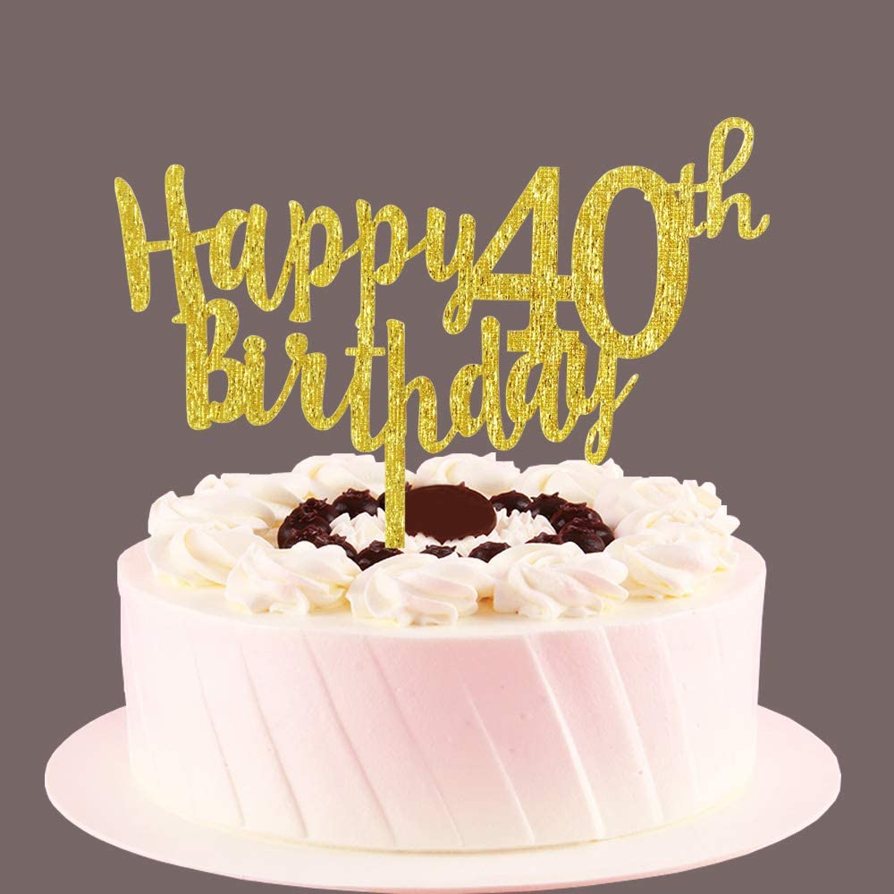 Marvelous Amazon Com Happy 40Th Birthday Cake Topper Gold 40 Years Old Personalised Birthday Cards Arneslily Jamesorg