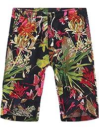 Men's Retro Vintage Floral Print Linen Draw-string Jogger Shorts