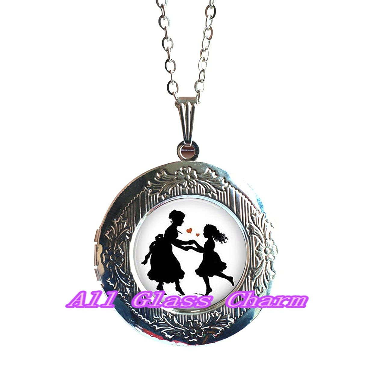 Mother and Daughter Jewelry Big Sister Gift,AS0135 Beautiful Locket Necklace,Mother and Daughter Dancing Silhouette Mothers Locket Necklace Locket Pendant Mothers Love Gift
