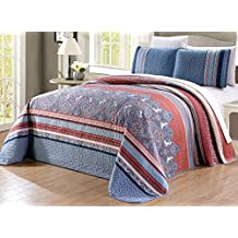 """3-Piece Oversize (115"""" X 95"""") Fine printed Prewashed Quilt Set Reversible Bedspread Coverlet (California) CAL KING SIZE Bed Cover (Light Blue, Navy, White, Terracotta Red)"""