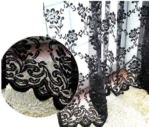 NAVADEAL Pack of 2 Black French Lace Design Floral Pattern Sheer Window Curtain Panel Drape, Hangs On Rod Pocket, Elegant Decoration for Window, Living Room, Canopy Bed 59 x 83 Inch