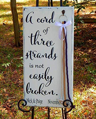 Cord of Three Strands Wood Wedding Beveled Board With detachable Braids Shabby White -
