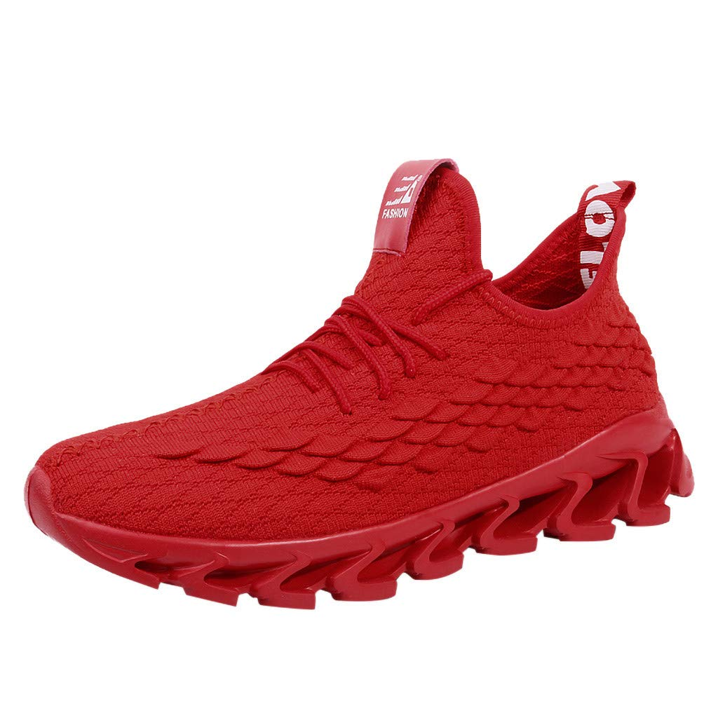 Men's Blade Sneakers Breathable Lightweight Fashion Sports Casual Walking Running Shoes (US :8, Red)