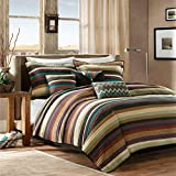6 Piece Purple Teal Stripes Coverlet Full Queen Set, Multi Striped Bedding Colorful Spice Red Earthy Tones Southwest Stitched White Textured Design Bohemian Horizontal Pattern, Polyester Microfiber