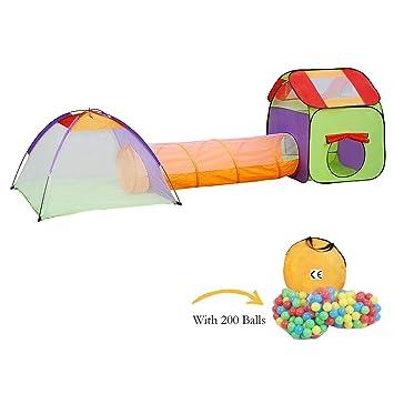 KExing Tienda de Juegos para Niños Pop up Carpa Infantil Portátil Plegables Tienda con Túnel y