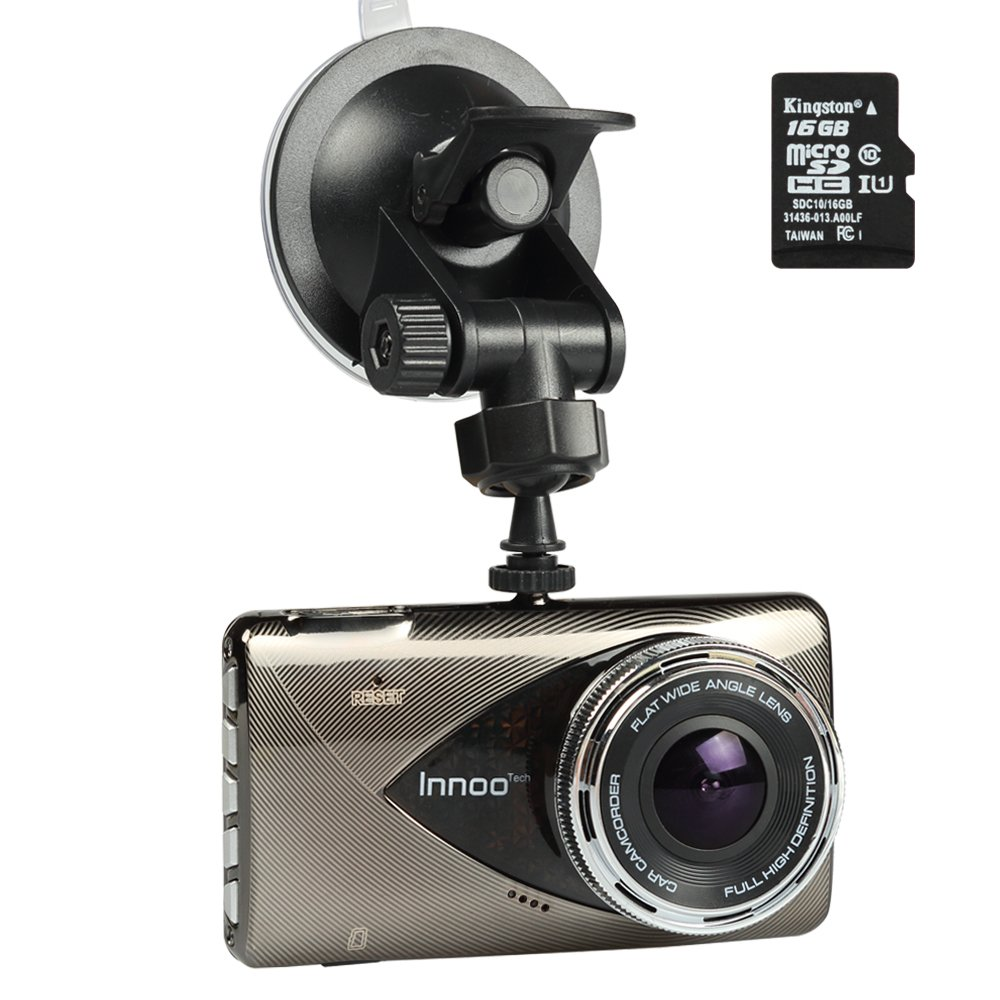 Car Dash Cam Camera with Video Recorder - 1296P Full HD Night Vision front and back 170° Ultra Wide Angle, G-sensor, Motion Detection, LDWS & FCWS, Parking Mode, 16G SD Card Included InnooCare