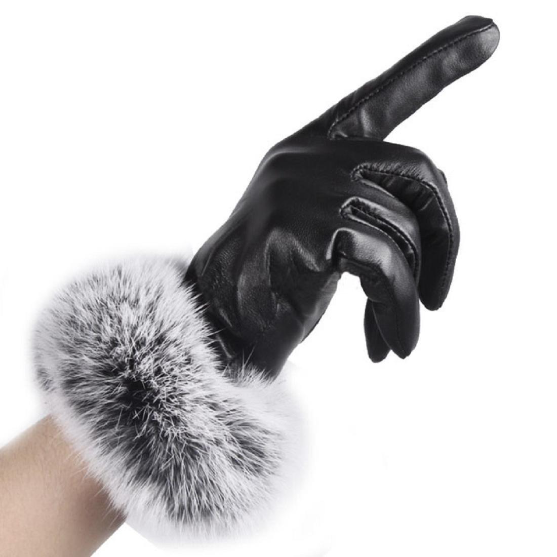 Coromose Women Lady Black Leather Gloves Autumn Winter Warm Rabbit Fur Mittens