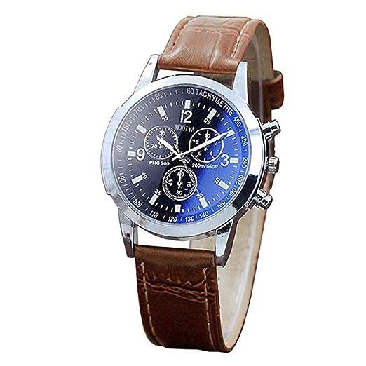 Hombres Relojes de Lujo Cara Azul Banda de Cuero Reloj de Cuarzo analógico