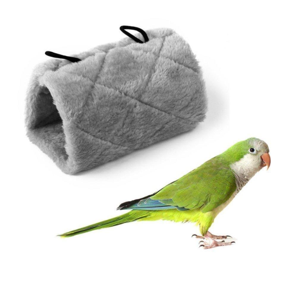 LA VIE Nido de Invierno para Pájaros Ratones Cueva Hamaca Cálido para Loro Hámster Refugio para Aves Tienda de Campaña Casa Cama de Peluche para Animales Pequeños Bird Parrot Nest Accesorios de Jaula para Pájaros Ratones S Gris