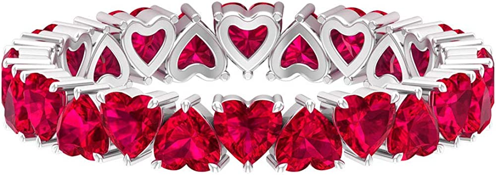 Anillo Forever Love, 9,6 ct 3 mm, forma de corazón, anillo de rubí, anillo de eternidad completa, anillo de piedra de nacimiento de julio, delicado anillo de promesa, 14K Oro blanco, Rubí, Size:EU 70