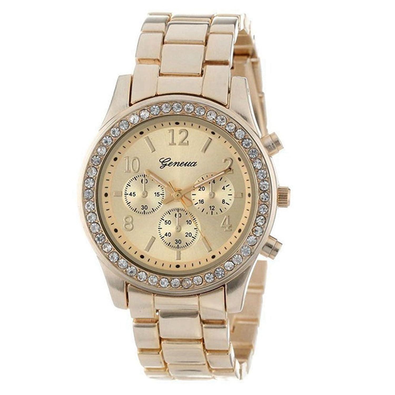 Fauxクロノグラフクオーツメッキクラシックラウンドクリスタル時計レトロ絶妙な高級ブレスレットウォッチfor Ladies ゴールド  ゴールド B07C9H3LDN