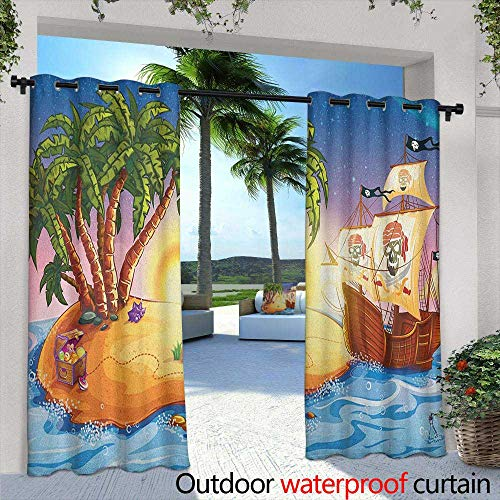 (LOVEEO Pirate Ship Outdoor Curtains Ghost Ship on Exotic Sea Near Treasure Island with Palm Trees and Open Chest Embossed Thermal Weaved Blackout 84