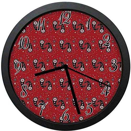 - YiiHaanBuy Red and Black Decorative Wall Clock,Asian Ethnic Paisley with Dots Flowers Leaves Mandala -12inch no Ticking,Suitable for Every Room