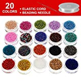Multicolor Beading Glass Seed Beads - Deluxe 2mm Round Seed Beads Kit for DIY Bracelets, Necklaces, Earrings and Kids Jewelry Making. 20 Colors, Approx. 20000 Pcs with Elastic Cord & Beading Needle
