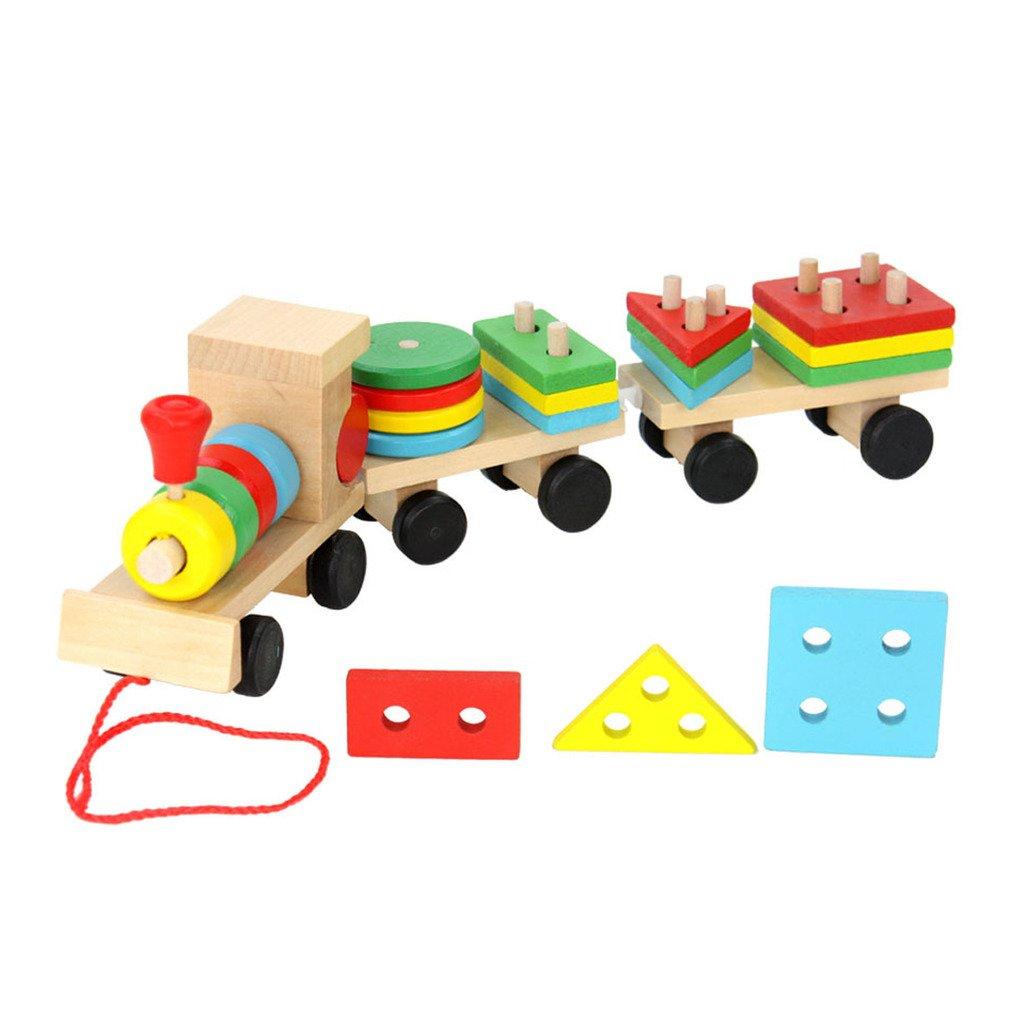 Block Stack Sort Puzzle Train, Netspower En Bois De Forme Géométrique Et De Reconnaissance De Couleur Block Toys Pour 3 Ans Et Jusqu'à Enfants Baby