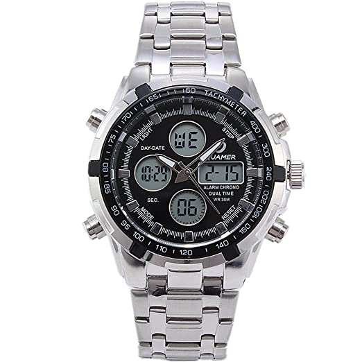 205 QUAMER muti-funcional del deporte de cuarzo reloj de pulsera analógico digital & con