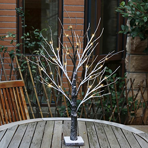 EAMBRITE Battery-Operated 24 Snow Bonsai Tree Lights with 24 Warm White LED for Indoor use Tabletop Tree Light for Home Decor