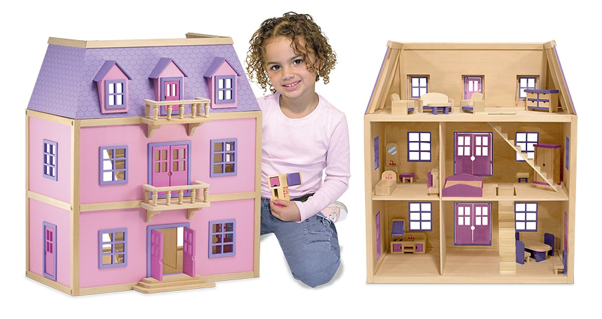 $67.26 Melissa & Doug Multi-Level Wooden Dollhouse With 19 pcs Furniture