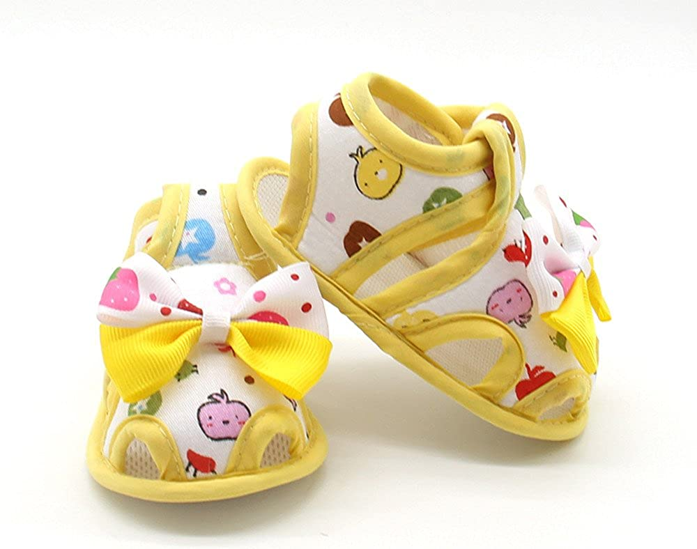 DFVVR Kids Shoes Newborn Infant Baby Girls Summer Bow Soft Sole Toddler Anti-Slip Shoes Sandals