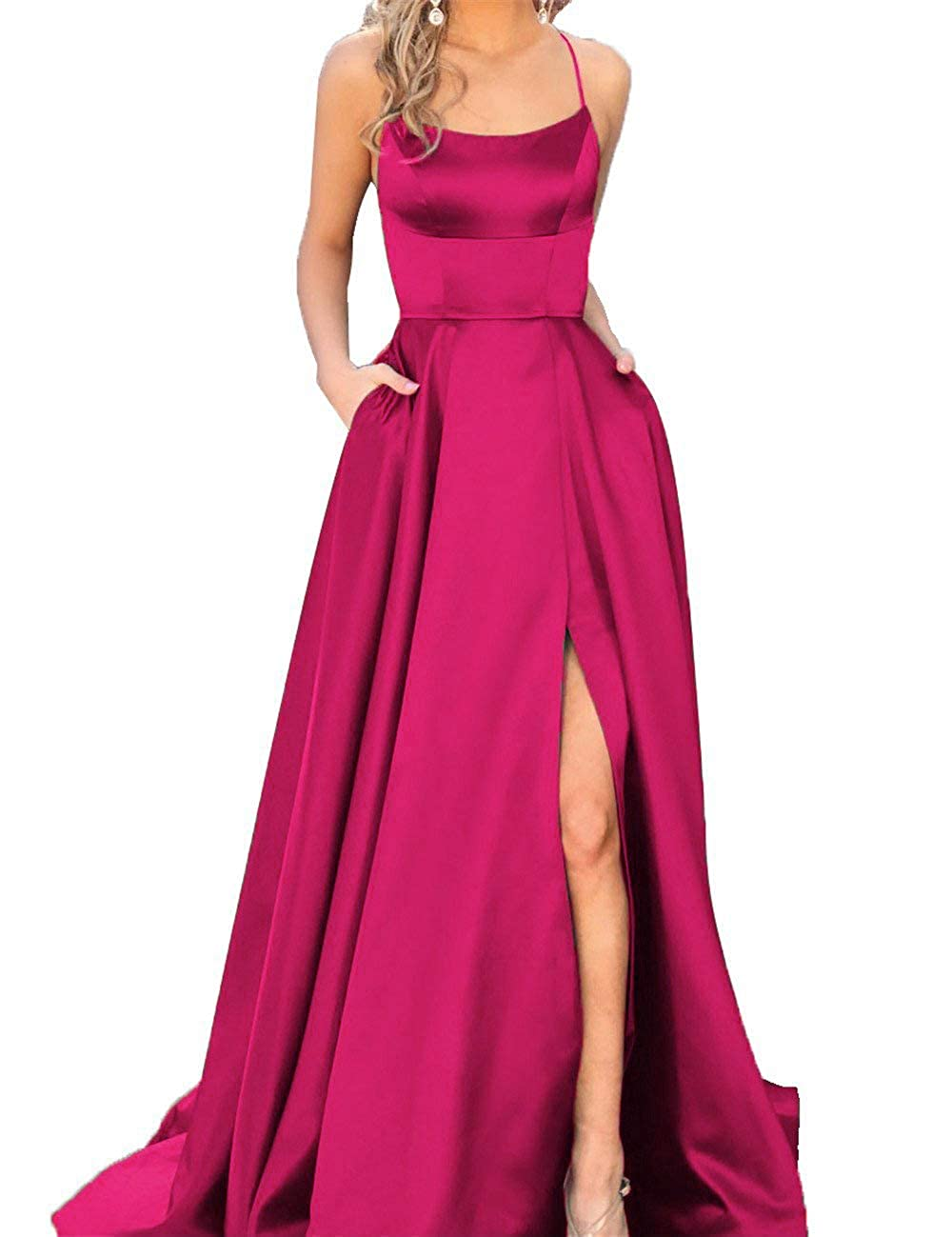 Hot Pink Fanciest Women's Halter Slit Satin Prom Dresses Long Backless Evening Formal Gowns