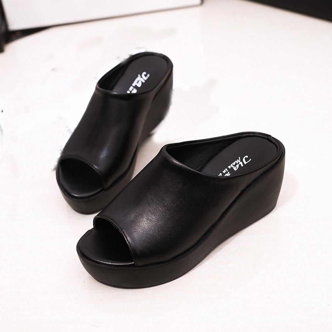 CLEARANCE SALE! MEIbax frauen im sommer mode - freizeit - fisch im mund sandalen dicken boden pantoffeln (37, Schwarz)37|Schwarz