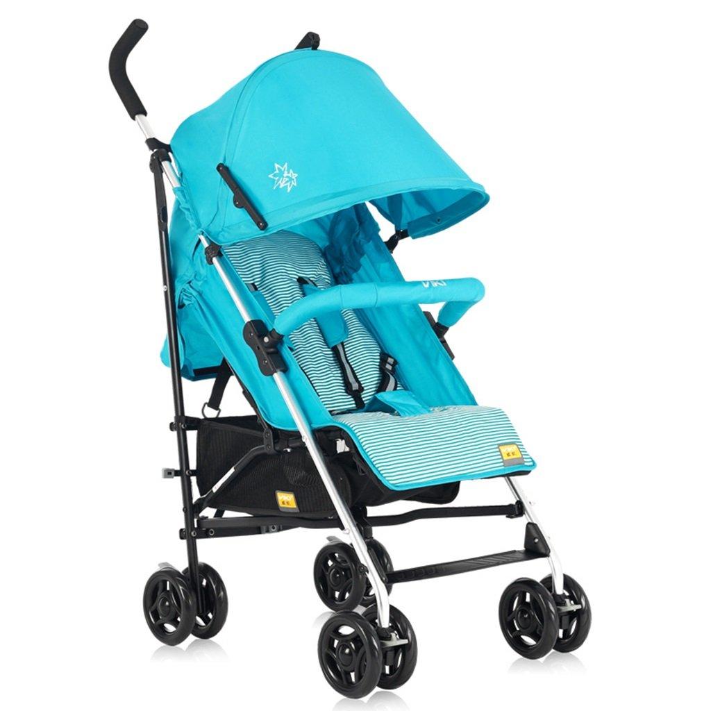 HAIZHEN マウンテンバイク ベビーカートライトウェイトは、折り畳み式調節可能な日除けトロリーを持たないことができます。ショッピングバスケット付きベビーキャリッジ62 * 47 * 104cmなし接着剤なしコットン5点シートベルト 新生児 B07DL6NYHT 青 青