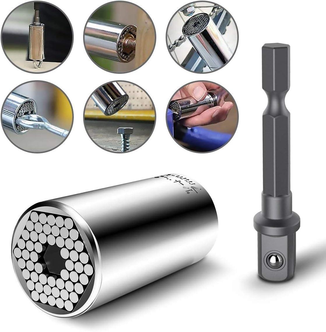 CIGOTU Universal Socket Impact Grade Driver Sockets Adapter Extension Set Screwdriver Set Hex Bit 7mm-19mm Multifunctional Cordless Ratchet Adapter Socket Wrench Set 105 Degree Right Angle Drill