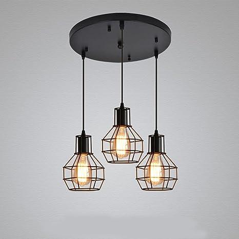 Nclon Industrial Vintage Retro Lámpara de techo,Metal cage Lámpara colgante Comedor Lámpara colgante E27 Enchufe Exclud de la bombilla-C-3-Lights