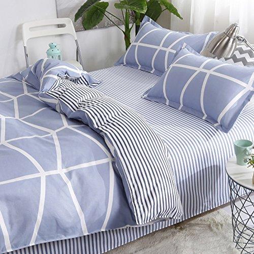Bedding Children Duvet Cover Set Flat Bed Sheet Pillowcase No Comforter 4pcs SJD Twin Full Queen Full Love Lasting Stripe lattices Designs for Kids Children (Lasting Stripe,Blue, Twin,59''x78'') by Nova (Image #3)